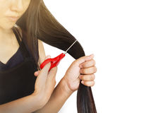 Focused to lady hand catch scissors cutting long hair on plain b Royalty Free Stock Images