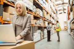Focused warehouse manager working on laptop Royalty Free Stock Photography