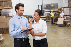 Focused warehouse managers working together Royalty Free Stock Photos