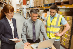 Focused warehouse team working together on laptop Royalty Free Stock Photo