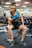 Focused woman lifting dumbbell while sitting down Royalty Free Stock Photos