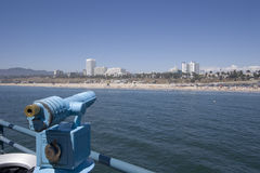 Focusing on the beach. Scope on the santa monica pier Stock Photography