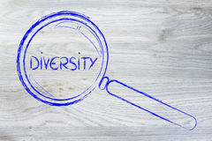 Focusing on diversity and collaboration. Magnifying glass seeking diversity and teamwork in business Stock Images