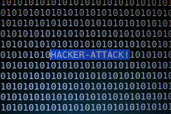 Focusing Hacker Attack Text on Computer Screen.  Royalty Free Stock Images