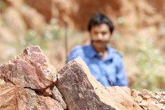 Focusing mountain rock in sunny shiny day. & blurred object Royalty Free Stock Photos