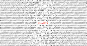 Focusing On Quality Over Quantity. Focusing on the word Quality over many surrounding Quantity Royalty Free Stock Photo