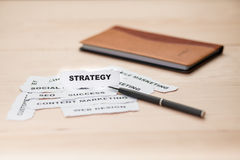 Focusing of strategy paper rip Stock Image