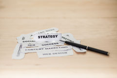 Focusing of strategy paper rip Royalty Free Stock Photo