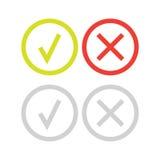 Fodra den gröna kontrollfläcken, eller symboler för kontrollask ställer in Arkivfoton