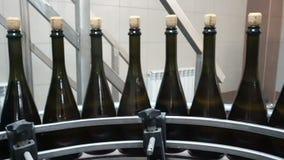 Fodra f?r p?fyllning och att f?rsegla av transport?ren i en fabrik av champagne stock video