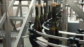 Fodra f?r p?fyllning och att f?rsegla av transport?ren i en fabrik av champagne arkivfilmer