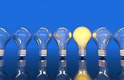 Fodra från sju lampor, sken för en lampa royaltyfri illustrationer