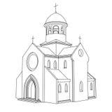 Fodra vektorn för den forntida basilicaen för konst den dra Arkivfoton