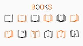 Fodra symboler, böcker, stor uppsättning av också vektor för coreldrawillustration Royaltyfri Bild