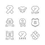 Fodra symbolsbandet av Carcinoma, cancer som fastställda symboler ställer in royaltyfri illustrationer