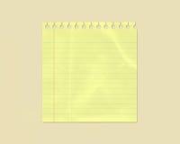 fodrad rynkig yellow för anmärkningspapper Fotografering för Bildbyråer