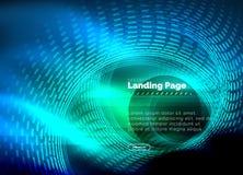 Fodrar den glödande technoen för neon, den högteknologiska futuristiska abstrakta bakgrundsmallen med cirklar som landar sidamall royaltyfri illustrationer