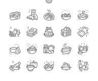 Fodrar den italiensk kokkonst Brunn-tillverkade perfekta vektorn för PIXELet thin rastret 2x för symboler 30 för rengöringsdukdia vektor illustrationer