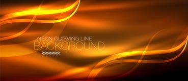 Fodrar den orange eleganta släta vågen för neon digital abstrakt bakgrund Royaltyfri Foto