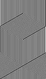 Fodrar den sömlösa moiremodellen för den abstrakta vektorn med kubikgaller Monokrom grafisk svartvit prydnad Arkivbild