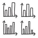 Fodrar den statistiska svart för illustrationen för symbolen för vektorn för diagram för klottret för stänger för det koordinerad Fotografering för Bildbyråer