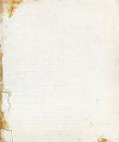 Fodrat ark för skolapapper med den sönderrivna nedfläckade gränsen Royaltyfri Fotografi