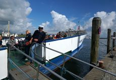 Foehr Island. Boat ready to embark. Foehr or Föhr is one of the North Frisian Islands on the German North Sea coast. It is located in the federal state of Stock Images