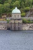 Foel Tower, water intake in the Garreg-ddu Reservoir. Foel Tower is the intake of the Garreg-ddu Reservoir, water starts its 73 mile journey to Birmingham. Elan royalty free stock images