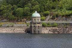 Foel Tower, water intake in the Garreg-ddu Reservoir. Stock Images