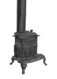 Fogão ardente de madeira velho do calefator isolado. Fotos de Stock Royalty Free