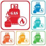 Fogão de acampamento com ícone da garrafa de gás Imagem de Stock