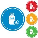 Fogão de acampamento com vetor do ícone da garrafa de gás Foto de Stock