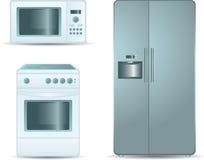 Fogão de cozimento, forno de microonda e refrigerador sid Foto de Stock Royalty Free