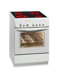 Fogão elétrico branco com forno. Imagens de Stock