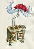 Fogão velho com um guarda-chuva ilustração royalty free