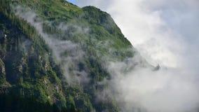 Fog покрывать леса горы с облако нижнего яруса в Juneau Аляске для ландшафта тумана акции видеоматериалы
