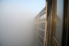 Fog. Building in heavy morning fog Stock Photo