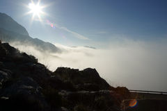 Fog 2. Fog and a sunshine in the mountains in Majorca in Spain stock images