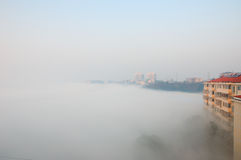 Fog. The fog of the morning dweller building Royalty Free Stock Photography