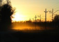 Fog. The fog in the sundown dusk near the railway Stock Photography