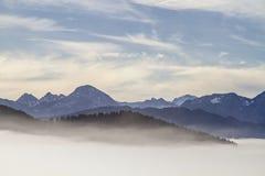 Fog above the Isarwinkel Royalty Free Stock Image