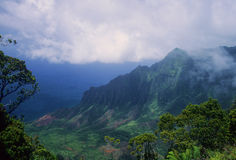 Fog above Kalalau Valley Royalty Free Stock Photo
