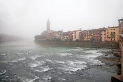 Fog above the river in Verona Royalty Free Stock Photos