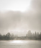 Fog along the Ottawa River parkway. Royalty Free Stock Image