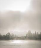 Fog along the Ottawa River parkway. Royalty Free Stock Image
