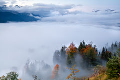 Fog in Alps during autumn Stock Images