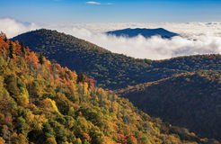 Fog Appalachian Mountains North Carolina. Fog in the valleys between ridges of the Appalachian Mountains at East Fork Overlook on the Blue Ridge Parkway in stock photos
