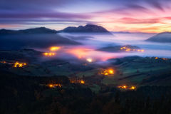 Fog in Aramaio valley at night. Fog in Aramaio valley at the night Stock Image