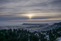 Fog Around North Table Mountain. Aerial view of Golden, Colorado from White Ranch Park Open Space Royalty Free Stock Photo