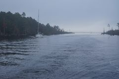 Fog on Atlantic Intracoastal Waterway royalty free stock image